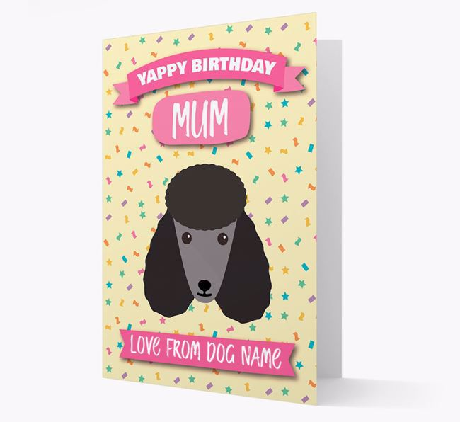 Personalised Card 'Yappy Birthday Mum' with Poodle Icon