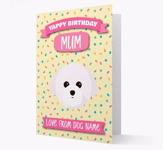 Personalised Card 'Yappy Birthday Mum' with Toy Poodle Icon