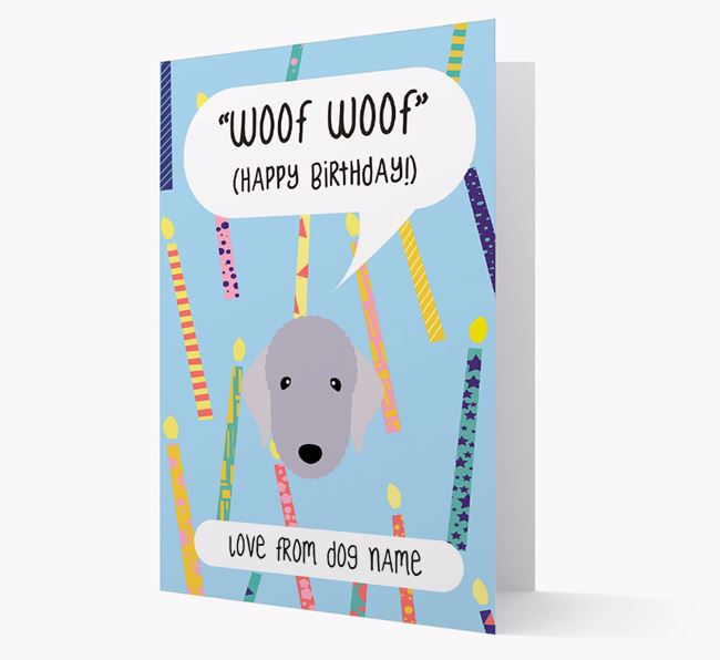 Personalised 'Woof Woof' Birthday Card with Bedlington Terrier Icon