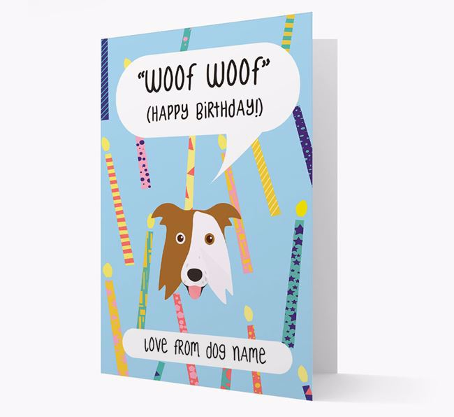 Personalised 'Woof Woof' Birthday Card with Border Collie Icon