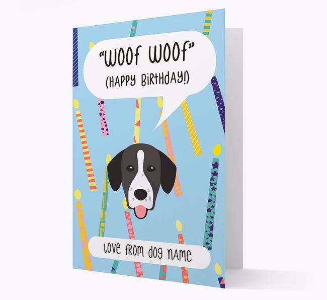 Personalised 'Woof Woof' Birthday Card with Springador Icon