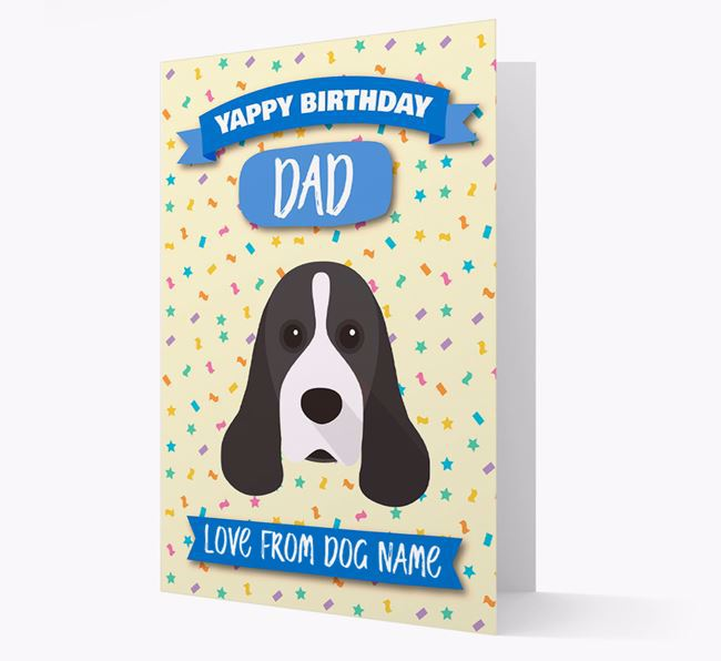 Personalised Card 'Yappy Birthday Dad' with Cocker Spaniel Icon