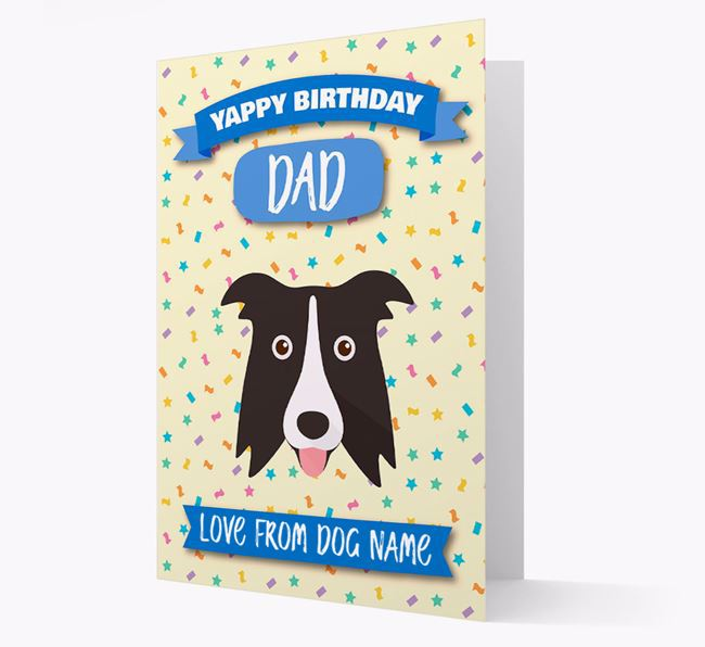 Personalised Card 'Yappy Birthday Dad' with Border Collie Icon