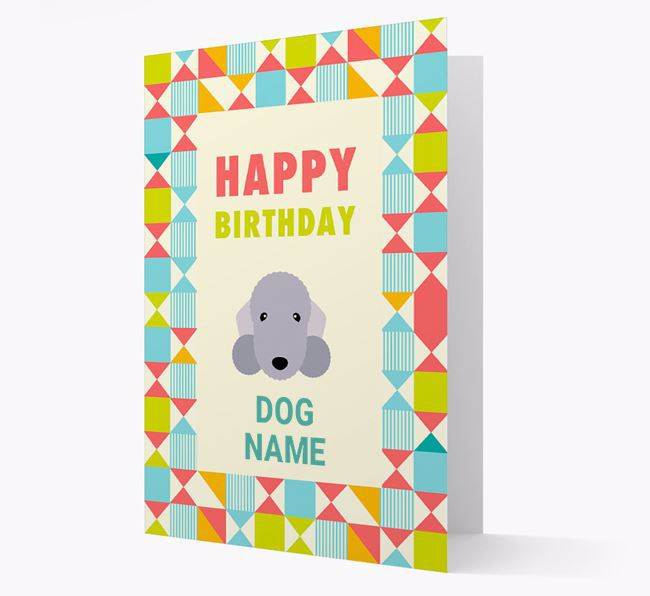Personalised 'Happy Birthday' Pattern Border Card with Bedlington Terrier Icon