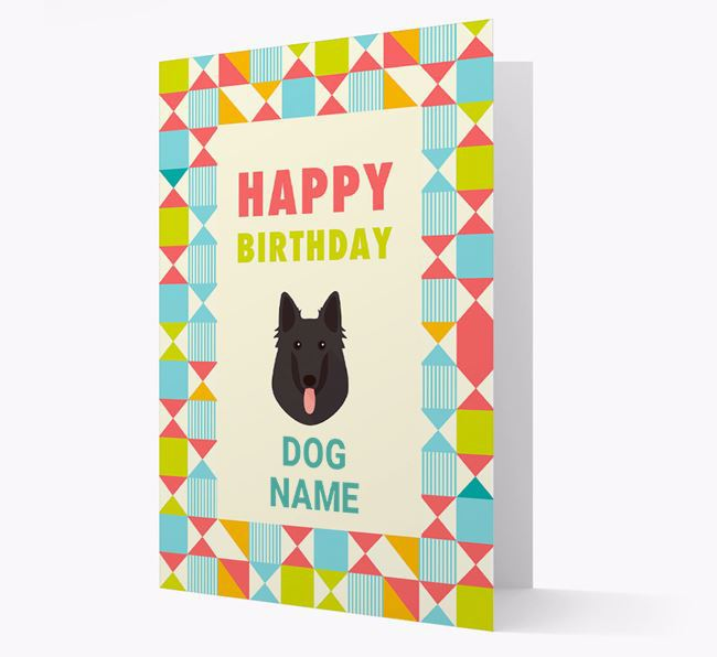 Personalised 'Happy Birthday' Pattern Border Card with Belgian Shepherd Icon
