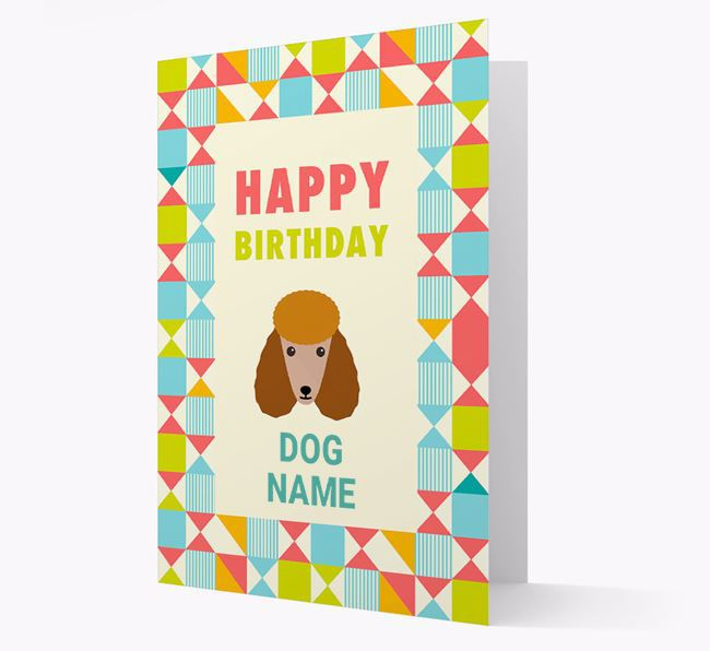 Personalised 'Happy Birthday' Pattern Border Card with Poodle Icon