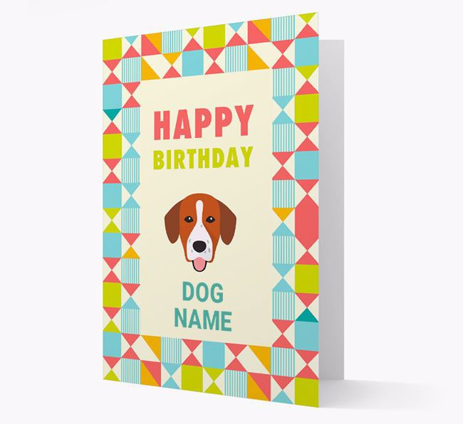 Personalised 'Happy Birthday' Pattern Border Card with Springador Icon