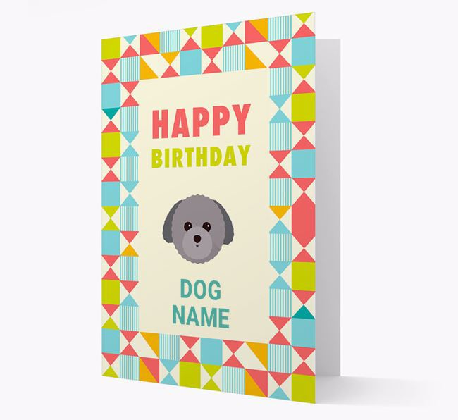 Personalised 'Happy Birthday' Pattern Border Card with Toy Poodle Icon