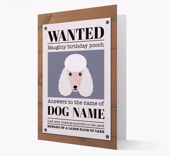 Personalised Card 'WANTED: Naughty Birthday Pooch' with Poodle Icon