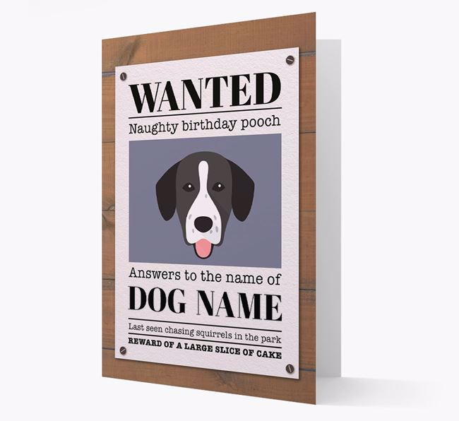 Personalised Card 'WANTED: Naughty Birthday Pooch' with Springador Icon