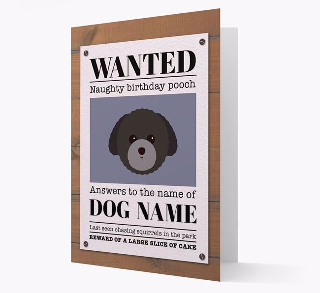 Personalised Card 'WANTED: Naughty Birthday Pooch' with Toy Poodle Icon