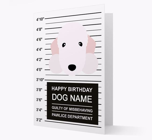 Personalised Card 'Guilty of Misbehaving' with Bedlington Icon