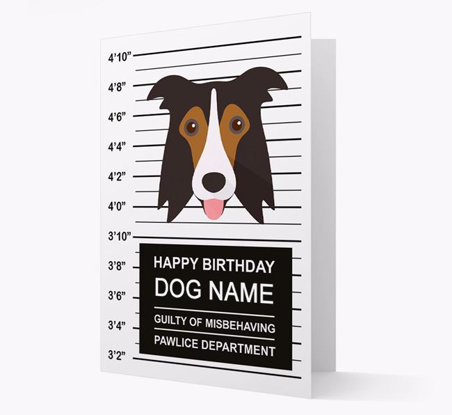 Personalised Card 'Guilty of Misbehaving' with Border Collie Icon