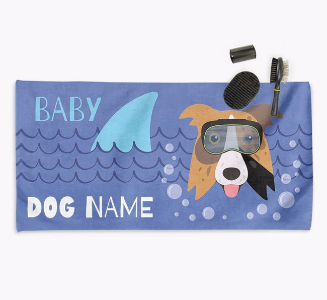 'Baby Shark' Personalised Towel for your Border Collie