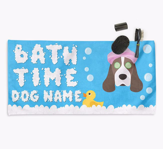 'Bubble Bath Time' Personalised Dog Towel for your Cocker Spaniel