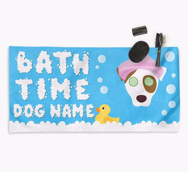 'Bubble Bath Time' Personalised Dog Towel for your Dog