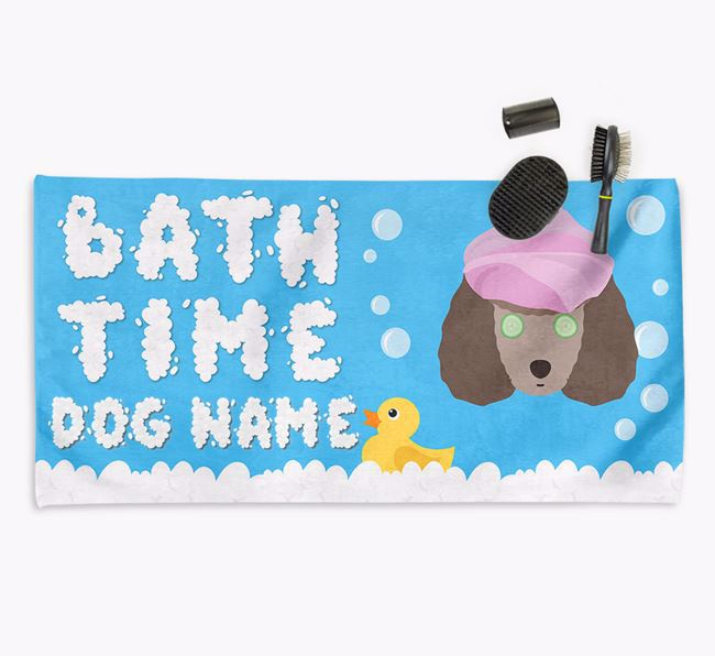 'Bubble Bath Time' Personalised Dog Towel for your Toy Poodle