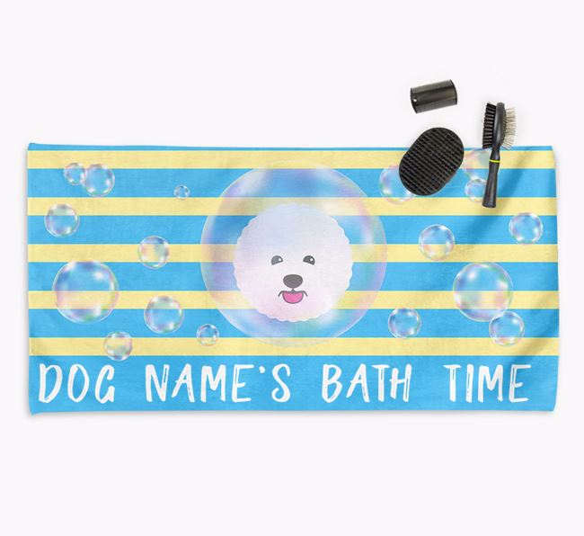'Bathtime' Personalised Towel for your Bichon Frise
