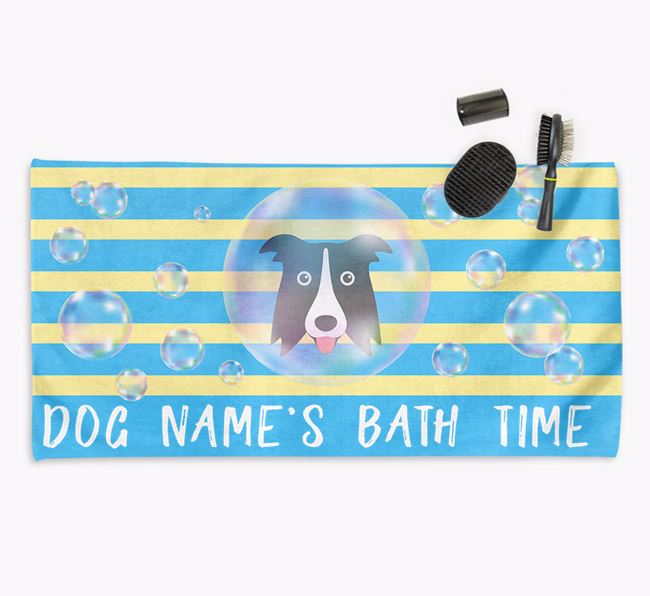 'Bathtime' Personalised Towel for your Border Collie
