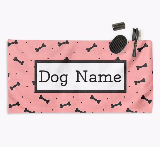 'Bone Pattern' Personalised Dog Towel for your Airedale