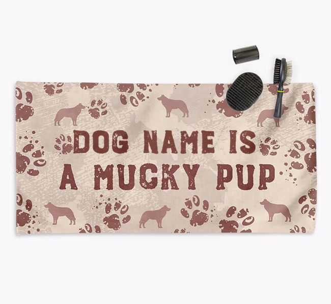 'Mucky Pup' Personalised Towel for your Border Collie