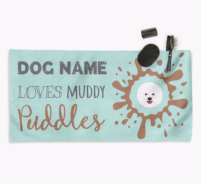 'Muddy Puddles' Personalised Dog Towel for your Bichon Frise