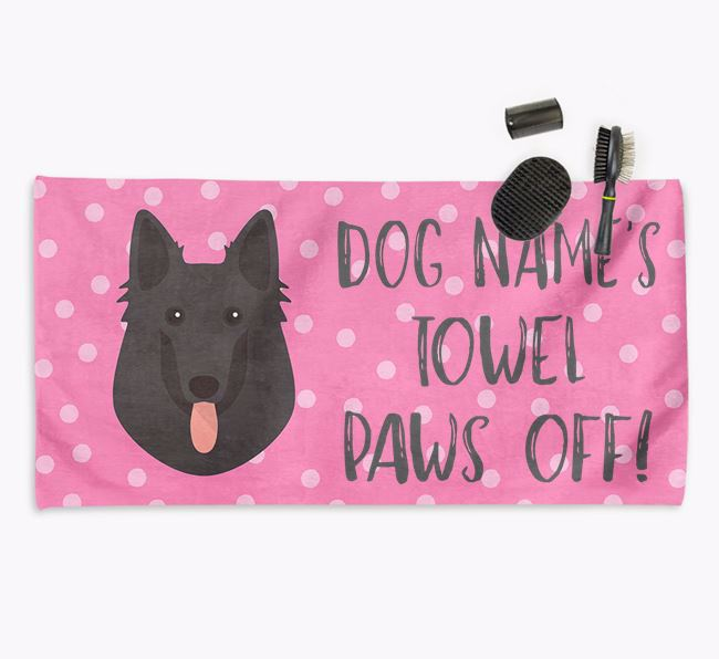 'Paws Off' Dog Towel for your Belgian Shepherd