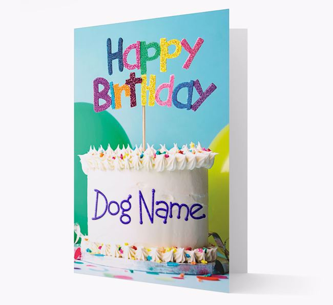 Personalised 'Happy Birthday Cake' Card for your Bedlington Terrier