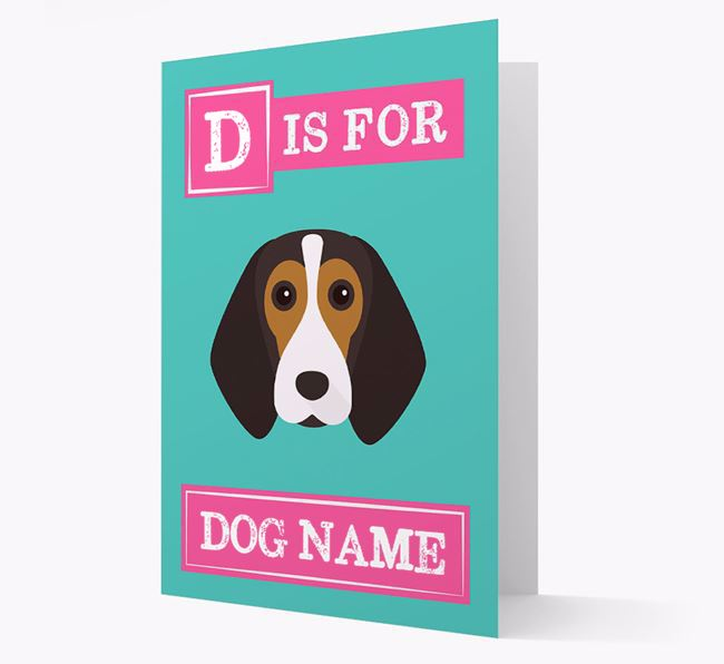 'Letter and Name' Card for your Beagle