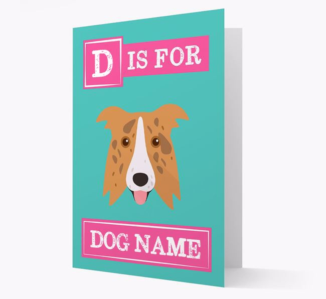 'Letter and Name' Card for your Border Collie