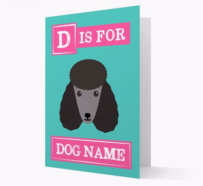'Letter and Name' Card for your Poodle