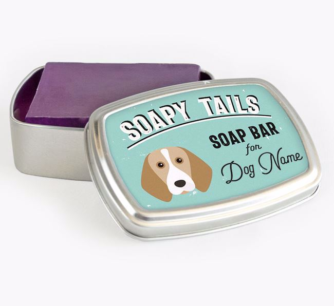 Personalised 'Soapy Tails' Soap Tin for your Beagle