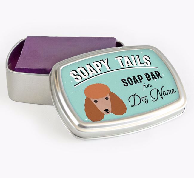 Personalised 'Soapy Tails' Soap Tin for your Poodle