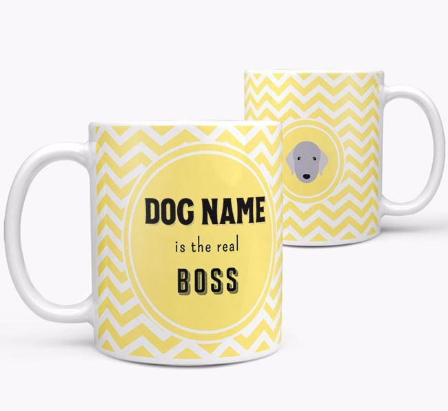 Personalised 'Real Boss' Mug with Bedlington Terrier Icon