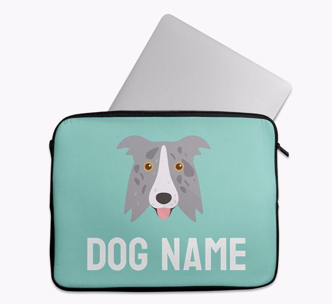 Personalised Bright & Bold Tech Pouch with Border Collie Icon