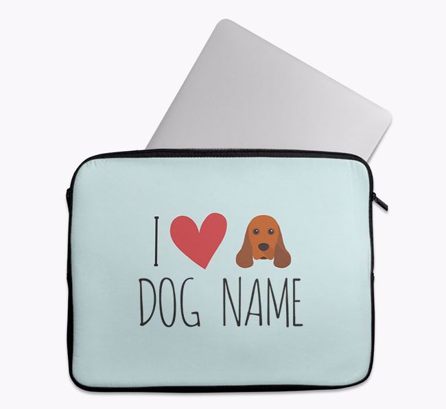 Personalised 'I Heart ' Tech Pouch with American Cocker Spaniel Icon