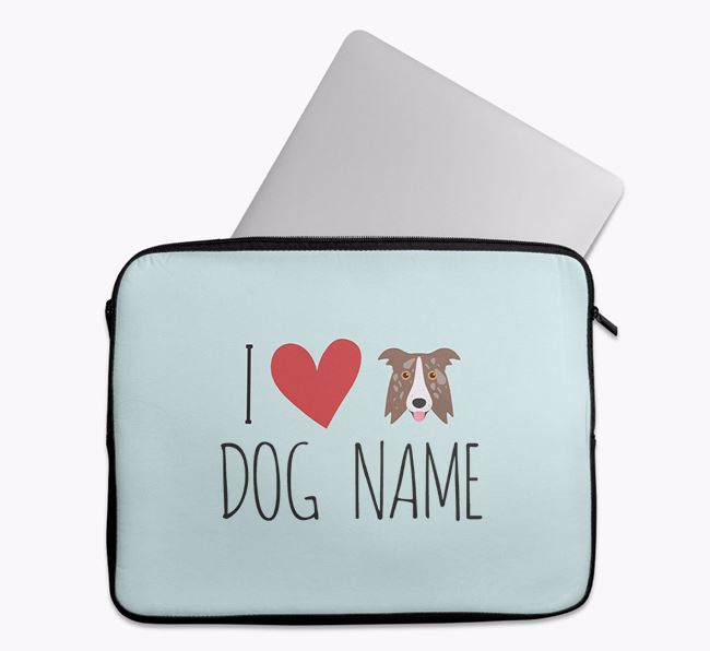 Personalised 'I Heart ' Tech Pouch with Border Collie Icon