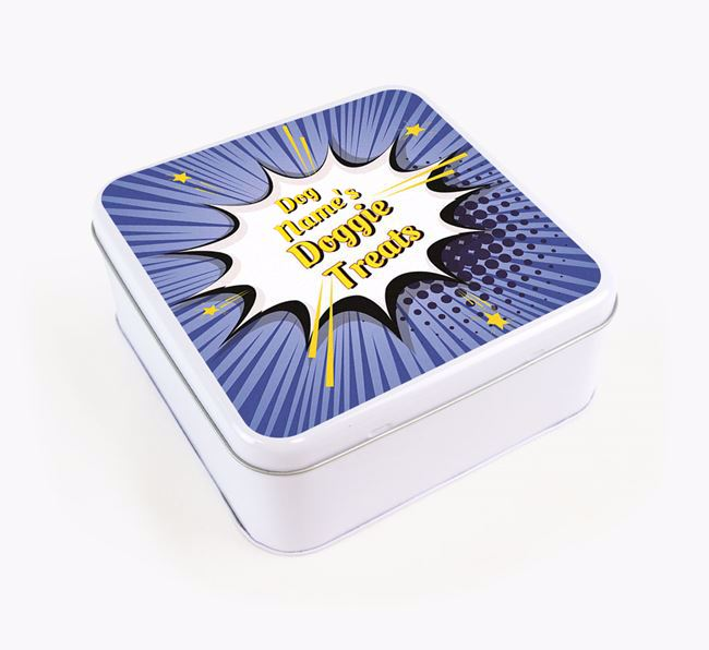 Comic Bang Square Tin for your Border Collie's Treats