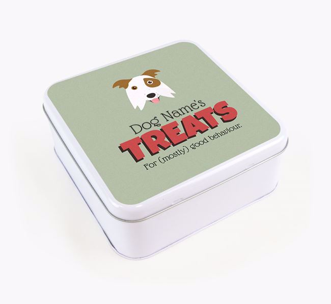 Personalised Retro Design Square Tin for your Border Collie