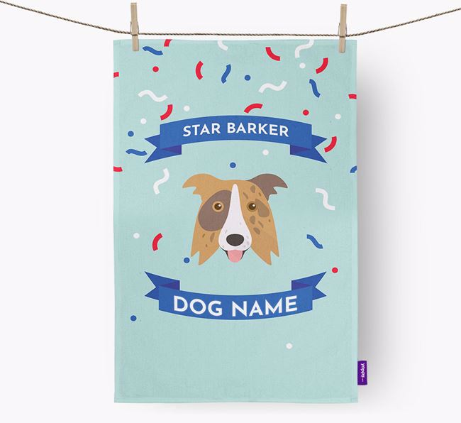Personalised 'Star Barker' Tea Towel with Border Collie Icon