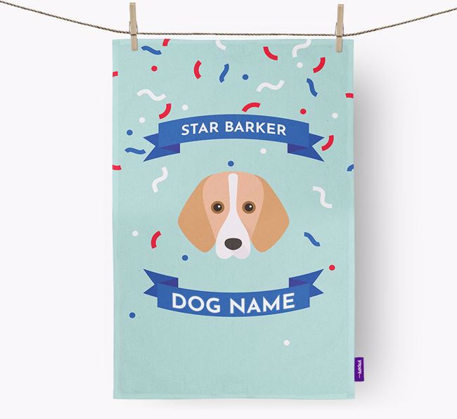 Personalised 'Star Barker' Tea Towel with Foxhound Icon