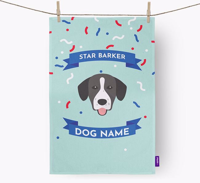 Personalised 'Star Barker' Tea Towel with Springador Icon